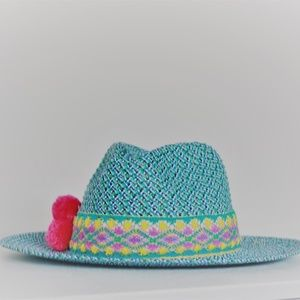 Custom colorful fedora beach hat with poms NWT